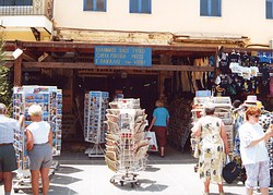 News stand and tourist books in several foreign languages. Venetian Harbour, Chania.