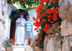 Wilf & Pam Burgess at Pamela's House, Astratigos, Kolimbari, Nomos Chanion, North West Crete.